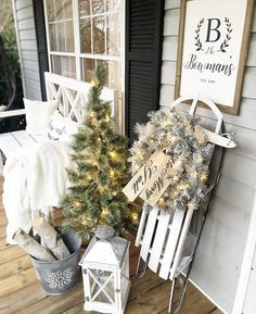 Christmas decorating ideas for porches by Distressed Bowman Nest Sled, Tree, Wre… – Outdoor Christmas Lights House Decorations