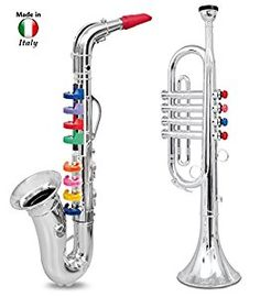 Amazon.com: Click n' Play Set of 2 Musical Wind Instruments for Kids - Metallic Silver Saxophone and Trumpet Horn: Toys & Games