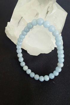 Genuine Angelite 6mm Round Bead Bracelet by LunaValleyCrystals