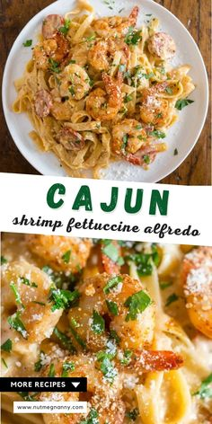 This Cajun shrimp fettuccine alfredo is packed full of flavor with a little Cajun twist. It's perfect for busy weeknights and you'll say goodbye to jarred sauces when you see how easy it is to make your own! Plus the little punch of andouille sausage really brings that Cajun flavor. Fancy Dinner Recipes, Delicious Dinner Recipes, Dinner Ideas, Cajun Recipes, Pasta Recipes, Andouille Sausage Recipes, Shrimp Fettuccine Alfredo, Shellfish Recipes, Cajun Shrimp