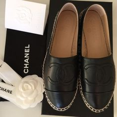 Chanel espadrilles Brand new Black lambskin leather  espadrilles  come with box and shoes bag . CHANEL Shoes Espadrilles