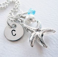 Starfish Charm - Personalized Necklace - Hand Stamped - Initial - Sterling Silver - Freshwater Pearl - Birthstone