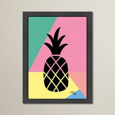 Varick Gallery Cabrini Geometric Pineapple Graphic Art Size: H x W Small Canvas Paintings, Easy Canvas Art, Small Canvas Art, Mini Canvas Art, Easy Canvas Painting, Cute Paintings, Painting Prints, Diy Canvas, Canvas Size