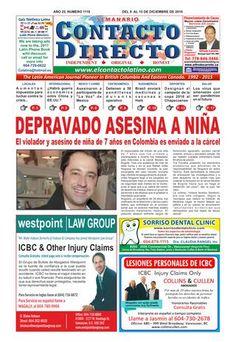 SEMANARIO CONTACTO DIRECTO EDICIÓN 9 DE DICIEMBRE 2016  Periódico Contacto Directo Edición 9 de Diciembre