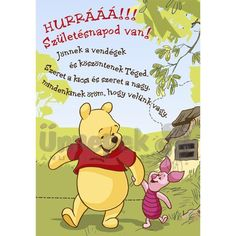 Micimackó Hurrá szülinapi Képeslap | Party Kellékek Webshop Birthday Wishes, Winnie The Pooh, Bff, Disney Characters, Fictional Characters, Wallpaper, Happy, Special Birthday Wishes, Winnie The Pooh Ears