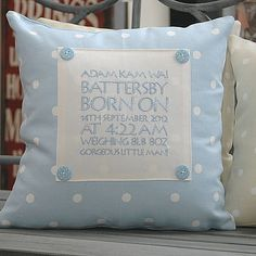 Personalised Birth Or Christening Cushion - nursery cushions Christening Present, Christening Gifts, Baby Sewing Projects, Sewing Crafts, Cushion Embroidery, Machine Embroidery, Communion, Personalised Cushions, Keepsake Quilting