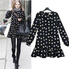 New 2014 spring women's dresses fashion boutique floral skirt long-sleeved dress women