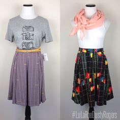 As a LuLaRoe retailer I love showing customers how you can pair your LuLaRoe - like these LuLaRoe Madison skirts - with items you already have in your closet.   Want to see more? Join me HERE: https://www.facebook.com/groups/SHOPlularoeDustyRogers/