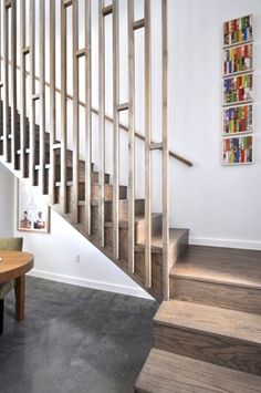 Modern Stair Railing at DeckRailingDesigns. Patio decking can also add value and wonder to the outdoor living space, but on its own, it may sometimes feel a lttle bit lonely. Modern Stair Railing, Staircase Railings, Modern Stairs, Railing Design, Interior Staircase, House Stairs, Modular Homes, Hallway Decorating, Home Reno