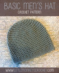 Basic Seamless Men's Beanie Crochet Hat | by Little Monkeys Crochet
