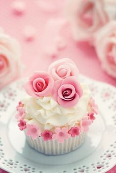 Cupcake decorated with pink sugar roses ~ lovely for a bridal tea