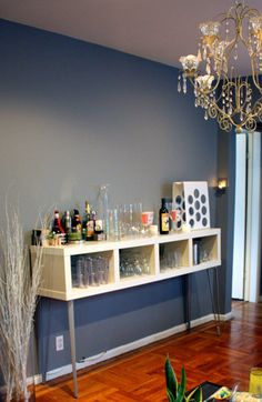 Ikea bookcase-turned bar!
