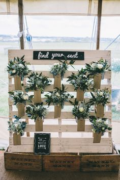 Pallet Crate Pit Plants Luggage Tag Black Board Seating Table Plan Chart Decor Home Made Country Festival Wedding http://www.jamespowellphotography.co.uk/