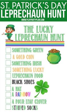Fun Lucky Leprechaun Games for St. Patrick's Day – Play Party Plan – Find Your St Patrick's Day Activities St Patricks Day Crafts For Kids, St Patrick's Day Crafts, Party Crafts, Kid Crafts, Kids Party Games, Games For Kids, Fun Games, Adult Games, Music Games
