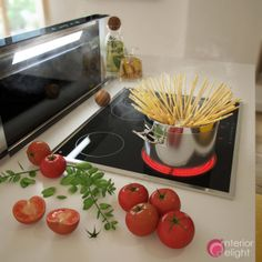 """Picture from """"Some like it. yellow"""" - project by interiordelight. With such equipment, cooking is a pleasure. Chocolate Fondue, Design Projects, Interior Design, Vegetables, Yellow, Cooking, Desserts, Food, Nest Design"""