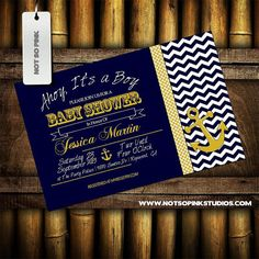 Nautical Baby Shower Invitation -  Chevron Yellow and Blue - Anchor on Etsy, $10.00