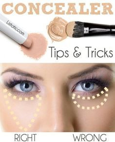 makeup tricks how to put concealer- Makeup tricks every girl should know http://www.justtrendygirls.com/makeup-tricks-every-girl-should-know/