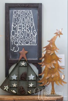 Christmas in Dixie Chalkboard with rustic holiday decorating ideas