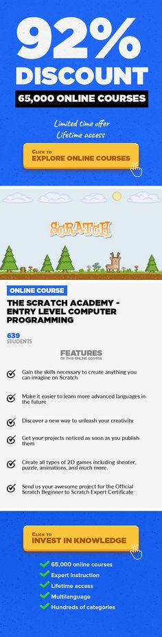The Scratch Academy - Entry Level Computer Programming Game Development, Development #onlinecourses #lifeskills #CoursesWebsiteGive your kid a head start - let this be his or her path to success in computer programming! The Mission:Your child is brilliant! I know this because he or she is in the most creative age group in the world! This is the first time in history a child can truly express the...