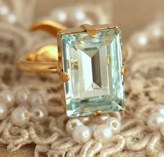 Aquamarin Crystal Ring, Emerald Cut Swarovski Ring Strass Square Goldring, Geschenk für die Frau, Wedding Schmuck, Schmuck-Trends.