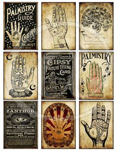 Printable Vintage Palmistry Divination Halloween Tags Digital Collage Sheet scrapbooking gypsy fortune telling atc pocket cards junk journal Halloween: Fortune Teller Palmistry Chart Halloween Tags, Retro Halloween, Halloween Designs, Halloween Crafts, Halloween Decorations, Halloween Photos, Junk Journal, Journal Ideas, Collage Sheet