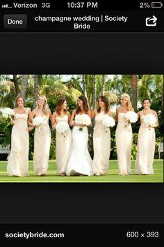 Long Champagne Bridesmaids dresses