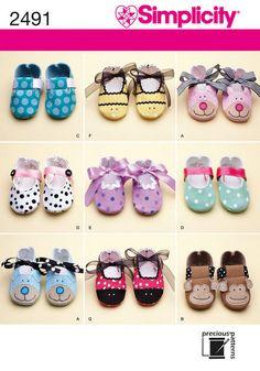 Adorable Crib Shoe Patterns Simplicity 0339 A Ladybug, Monkey, Bear, Bee, Puppy. $5.00, via Etsy.