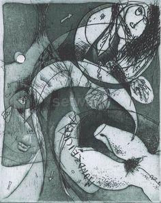 Luis Seiwald - Mondzeichen - Radierung - 1994
