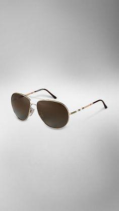 Polarised Check Arm Aviator Sunglasses | Burberry