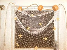 10 X 8 Ft Fishing Net Nautical Window Treatment Floats, Starfish, Rope, Decor Tie Up Curtains, Country Curtains, White Faux Wood Blinds, Bamboo Roman Shades, Wood Valance, Orac Decor, Horizontal Blinds, Outdoor Sun Shade