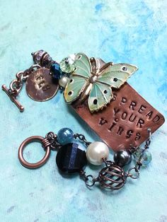 Metal Bracelet, butterfly bracelet, mixed media bracelet,charm bracelet, inspirational bracelet, spread your wings, stamped,mixed media art by CloverMoonDesigns on Etsy