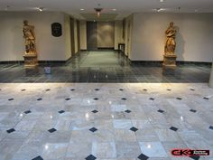 Regardless if the floor is in a home or a commercial building, GK's has the right team for the job. #marble #polish