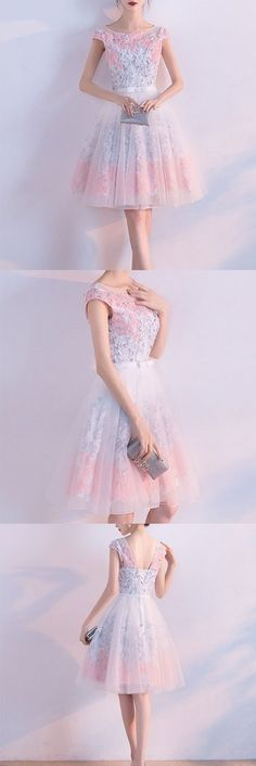 Buy Cute A line Short Appliques Tulle Lace Round neck Knee length Pink Homecoming Dress on https://www.promdress.me.uk/