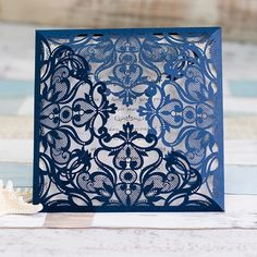navy blue elegant laser cut wedding invitations EWWS030