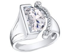 Half Moon Diamond Engagement Ring in 14K White Gold