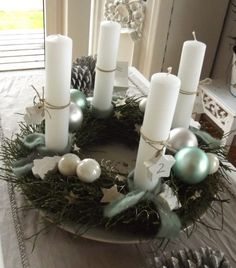 Advent wreath - christmas - decor - white - candle - xmas