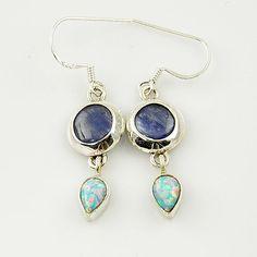 Genuine Kyanite & Fire Opal Sterling Earrings. Starting at $1 on Tophatter.com!