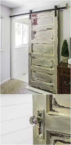 60 DIY Barn Door Projects to Add Some Farmhouse Flair to Your Home Distressed Wood Barn Door in the Master Bedroom - Door Old Wood Doors, Old Barn Doors, Double Barn Doors, Diy Barn Door, Sliding Barn Door Hardware, Wooden Doors, Sliding Doors, Barn Door In Bedroom, Rustic Barn Doors