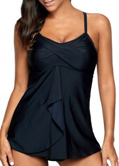 Black Spaghetti Strap Twisted Draped Front Tankini Swimsuit