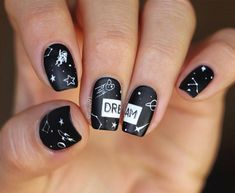 constellation nail designs that can put the universe in your palms Inventive and Nice & Black Nail Designs, Nail Art Designs, Blog Designs, Stylish Nails, Trendy Nails, Hair And Nails, My Nails, Matte Black Nails, Nail Black