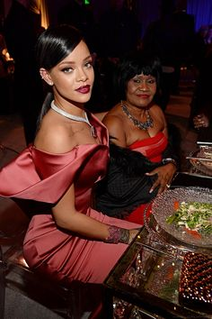 "Robyn Rihanna Fenty — Rihanna and her mother at her 1st  annual ""Diamond..."