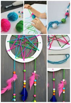 Everyone can enjoy craft time. Kids Crafts, Halloween Crafts For Kids, Easy Crafts, Diy And Crafts, Arts And Crafts, Diy Dream Catcher Tutorial, Halloween Cupcake Toppers, Wild West Party, Dream Catcher Art
