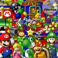 Come along on the greatest gaming Adventure. Enjoy the video game world as you scrap your pages with the beloved Mario, Luigi & friends. This digital scrapbooking kit is sure to never keep you bored..With 113 papers & 240+ elements.. 300dpi high resolution papers, Characters & elements.... Only $21.99