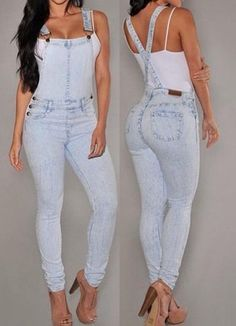 Stylish Bleach Wash Criss-Cross Denim Overalls For Women