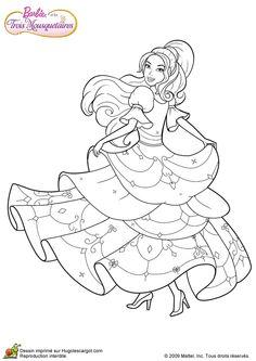 Coloriage d'un dessin de Barbie qui danse