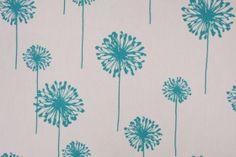 Premier Prints Dandelion Printed Cotton Drapery Fabric in White/True Turquoise $7.48 per yard