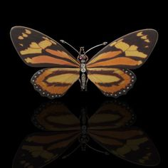 RENE LALIQUE Paris.Art Nouveau c1895.Beautiful and rare enamel and diamond butterfly brooch