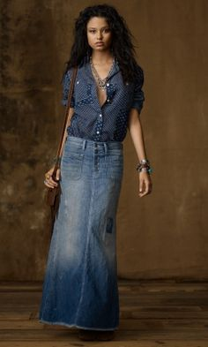 Mango Long Denim Skirt With Sash | Long denim skirts | Pinterest ...