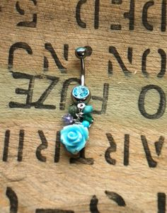 Light Blue Rose Beaded Belly Button Ring by JewelrybyTheresa, $15.50