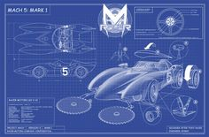Speed Racer Mach 5 blue print. I am making one wall in the husbands mam cave into a chalkboard wall and adding diagrams and drawings to it (in white paint pen instead of chalk). I have to add this one.
